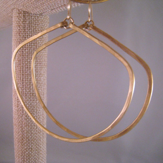 Hammered Bronze Forward Facing Hoop Earrings
