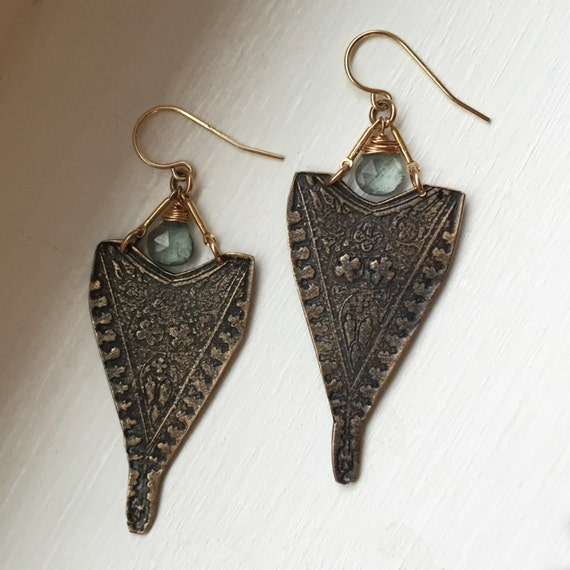 Lady of the Lake Earrings in Bronze and Moss Aquamarine