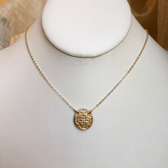 Mini Medallion Necklace in cz or ruby