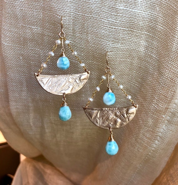 La Sirene earrings in bronze and larimar