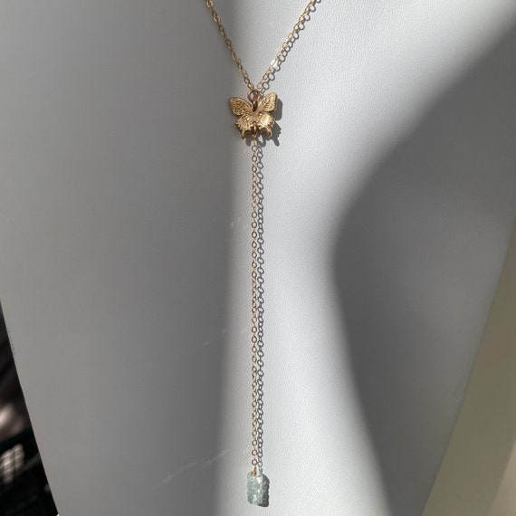 Butterfly Y Necklace with Aquamarine