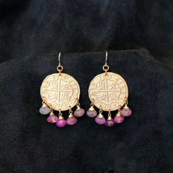 Antique Coin Chandelier Earrings with Pink Sapphires