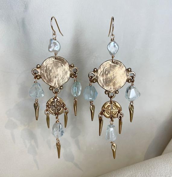 Thalassa Earrings with Aquamarine and Pearl