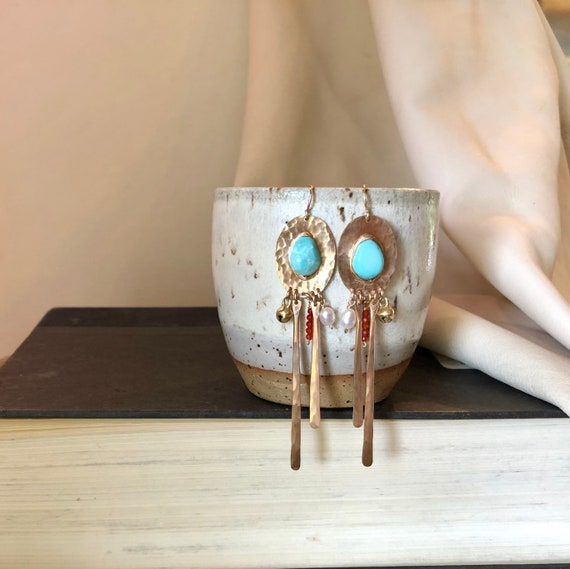 Equinox Earrings in Turquoise, pearl and carnelian