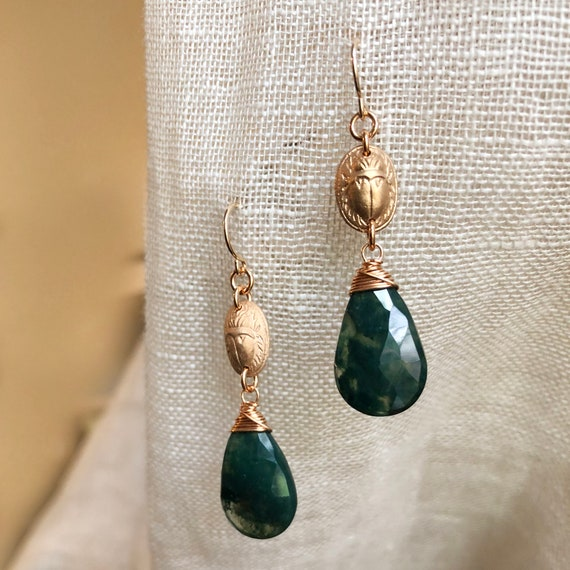 Scarab Earrings with Mossy Agate