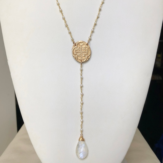 White Freshwater Pearl and Rainbow Moonstone Rosary Style Necklace