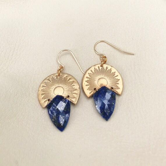 Sun Ray Earrings with Lapis Lazuli