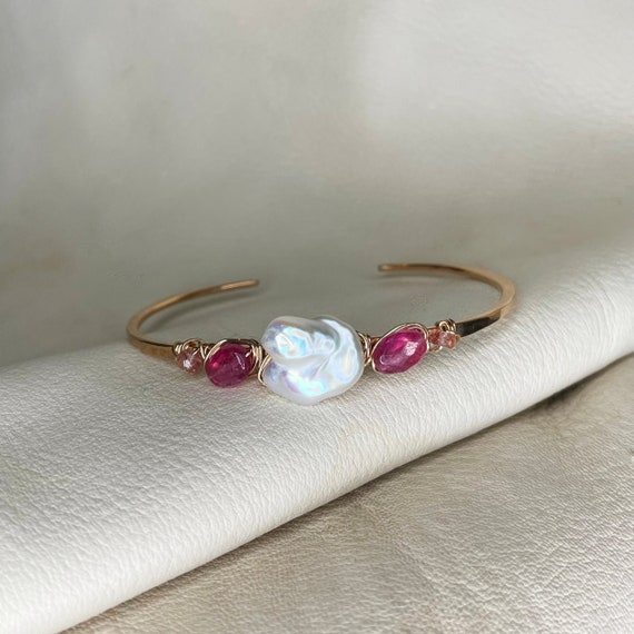 Cherie Cuff Bracelet in Pearl, Sapphire and Strawberry Quartz