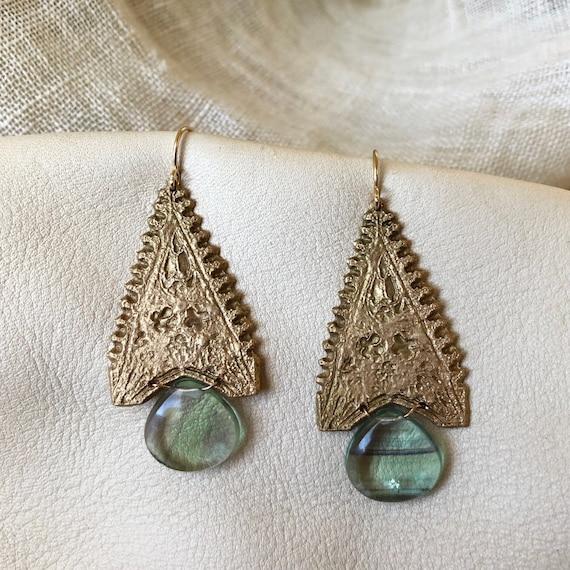 Bronze Water Temple Earrings with Fluorite