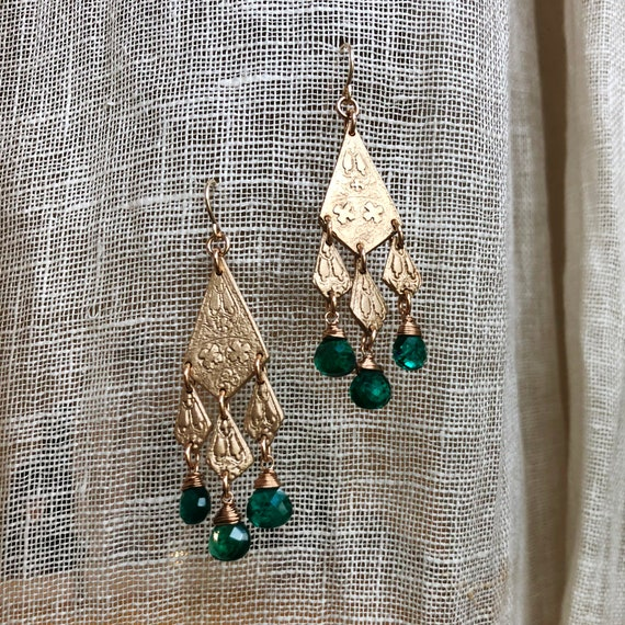 Babylon Earrings with Chrome Diopside