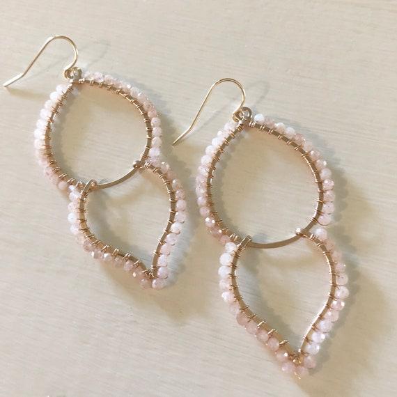 Pink Moonstone Goddess Earrings