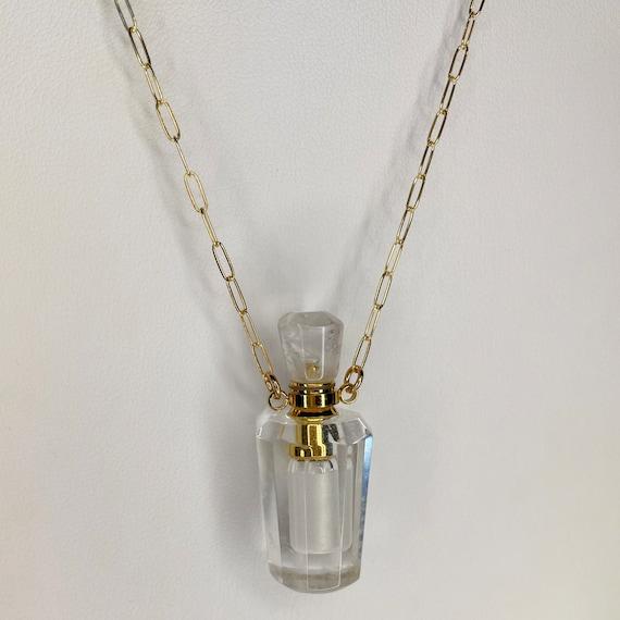 Crystal Quartz Essential Oil Bottle necklace on Gold Paper Clip Chain