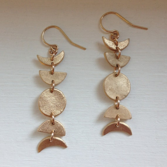 Mini Moon Phase Earrings in Bronze