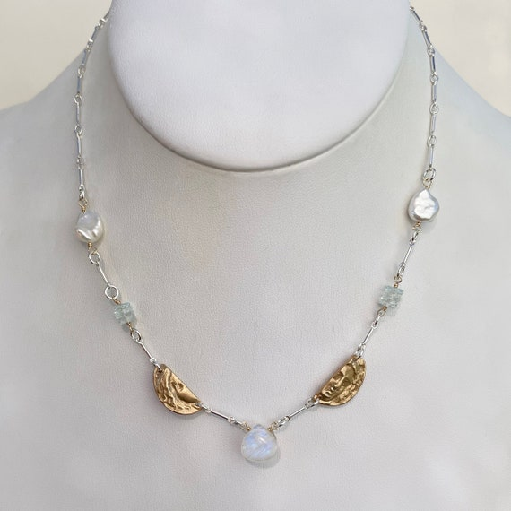 Curio II Station Necklace with Aquamarine, rainbow moonstone, pearl, bronze and sterling