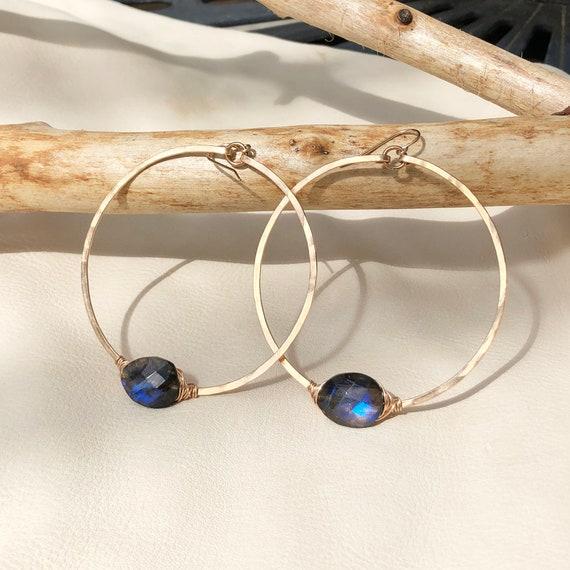 Orbit Hoop Earrings with Labradorite