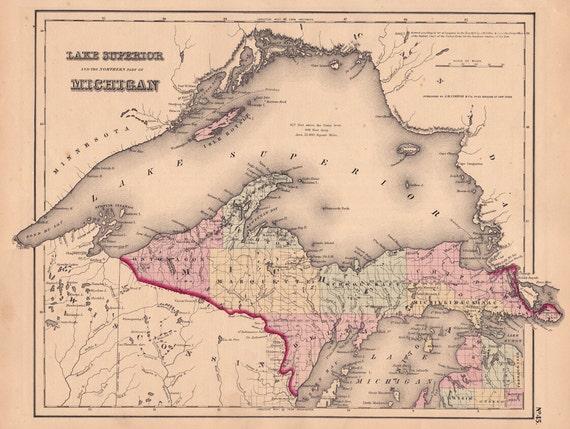 1855 Map Of Lake Superior And Michigan S Upper Peninsula Etsy