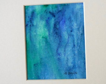 Blue and Green Watercolor Mood Painting: Original Art. Blue Art, Colorful Art, Abstract Art
