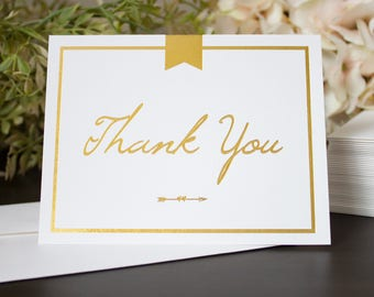 Gold Foil Thank You Folded Cards