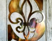 Metal Personalized Fleur De Lis Initial Antique Copper or bronze Plated Letter Custom Cut from 1 8 inch Steel Plate 12 to 23 Inch