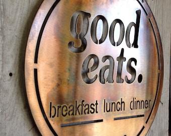 Good Eats Breakfast Lunch Dinner Sign Established Date Customizable