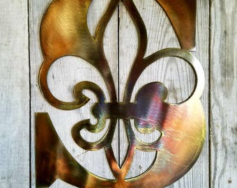 Metal Personalized Fleur De Lis Initial Antique Copper or bronze Plated Letter Custom Cut from 1/8 inch Steel Plate 14 to 24 Inch