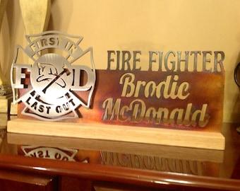 Custom Steel Fire Fighter Maltese Cross Desk Plaque Personalized 14 inches