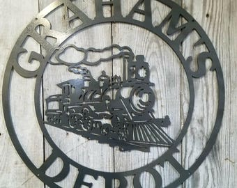 Customizable Locomotive Train Center Round Steel Metal Wall Mount Personalized