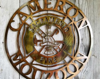 New! Center Design for the Fire Fighter or Chief Maltese Cross Steel Wall Mount in Antique Copper Plated Finish