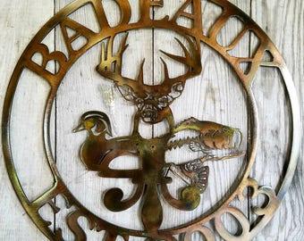 Custom Deer Duck Bass Fleur De Lis Round Steel Sign
