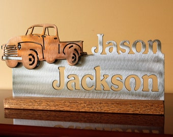 Copper Plated Truck and Brushed Steel Desk Plaque
