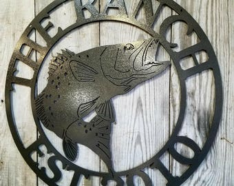 Custom Wall Mount Speckled Trout Sign Personalized with your own Text Free