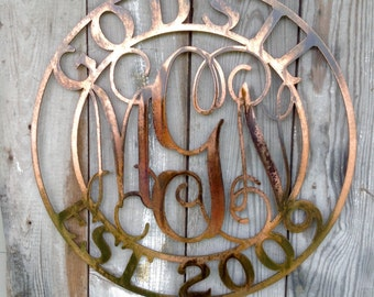 Vine Monogram Customized Copper Plated Metal Steel Wall Mount 3 Letter Center