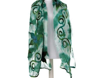 Scarf, Felt Scarf, Felted Scarf, Nuno Felted Scarf, Felted Shawl, Wrap Scarf, Silk Scarf, Felt Wrap, FAST shipment with UPS or FEDEX - 10501