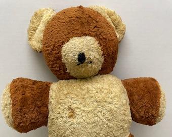 well worn vintage stuffed animal teddy bear 16 inches tall