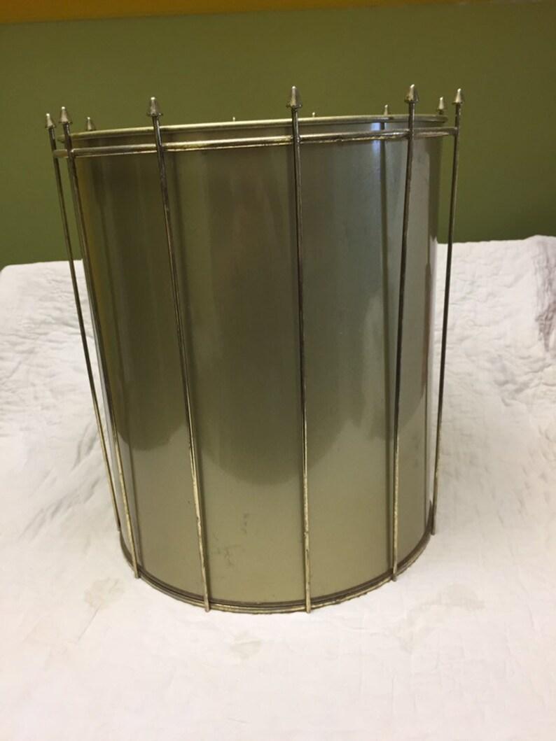 Midcentury metal wastebasket as is