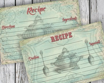 Blue RECIPE CARDs - Printable Download Images, Paper Craft, Scrapbook. DIY. Print at Home