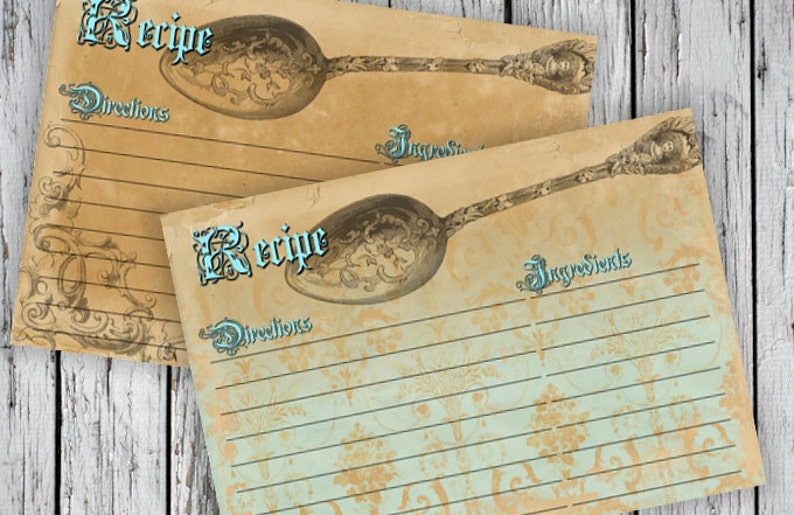 old paper recipe cards printable download images paper  etsy