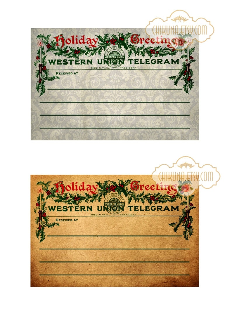 CHRISTMAS TELEGRAM - Printable Background Vintage Paper Ephemera Scrapbook  Download Digital Collage Sheet Paper Crafts