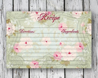 Rose RECIPE CARDs - Printable Download Images, Paper Craft, Scrapbook. DIY. Print at Home
