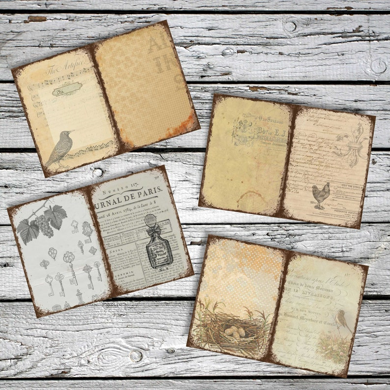 Vintage Ephemera Digital Download 10x7 GRUNGY SHEETS 12 Journal Pages