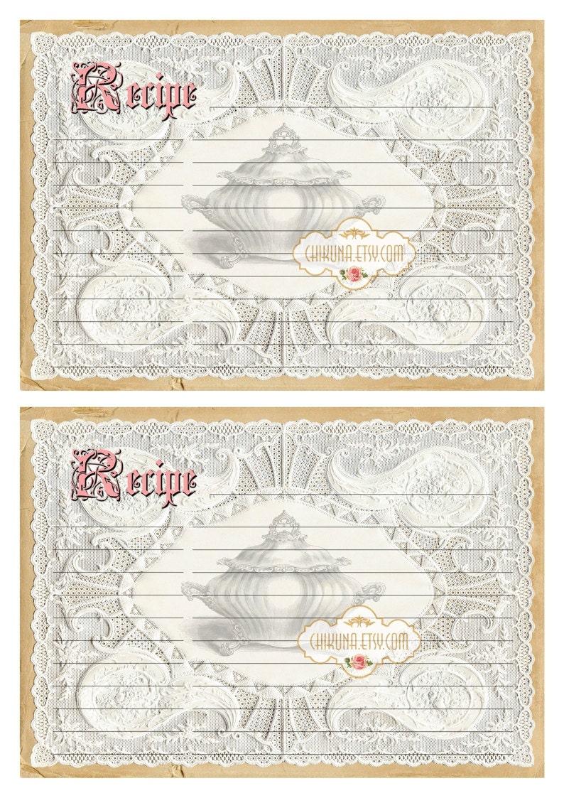 Print at Home Paper Craft Lace RECIPE CARD Scrapbook Printable Download Images DIY