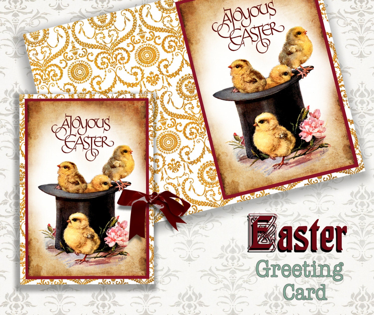 Chickens Printable Greeting Cards Download Digital Collage Etsy