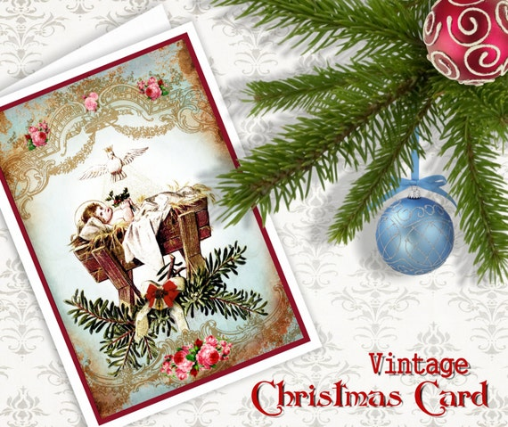 Estrella De Navidad Invitación Para Imprimir Tarjetas De Felicitación Descargar Collage Digital Hoja Vintage Efímero Arte De Papel Scrapbook