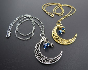 Dark Sapphire Blue Stone Crescent Triple Moon Goddess Pendant Silver Necklace Choker Priestess Pagan Luna Celestial Victorian Bridal Wedding