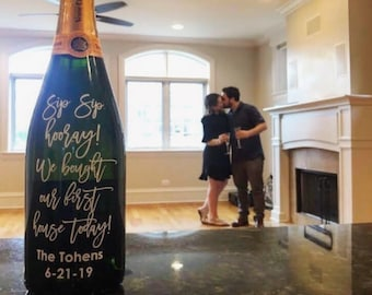 Sip Sip Hooray DECAL,  We Bought Our First House Today Decal, Wine Glass DECAL, wine bottle decal, drinking decals, champagne decal