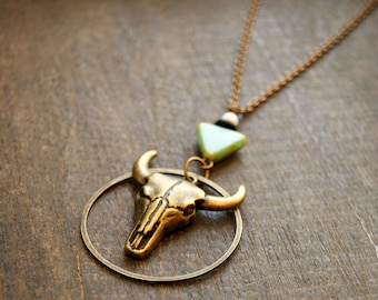 Steer Skull Necklace Native American Jewelry Tribal Skull Necklace Animal Skull Necklace Hammered Necklace Bohemian Skull Jewelry Southwest