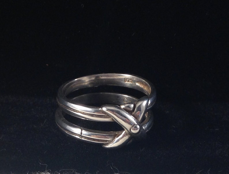 Crossover Double Band Ring 925 Sterling Silver Southwestern Artisan Crafted Vintage 1980/'s Signed