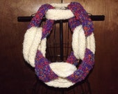 Link Chain Infinity Scarf Handmade Knitted