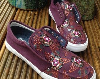 f57e78b042f2 Men s African Shoes - Ankara Clothing - Maroon - Men s Plimsolls - Custom  Vans - Painted Vans - Converse - Keds - Toms - Kente Cloth Shoes