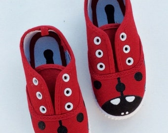 57db6bbe685 Kid s Red Ladybird Bug Shoes - Children s Sneakers - Cute Gift Idea - Baby  Shower - Baby 1st Christmas Birthday - Polka Dot Insect - LadyBug